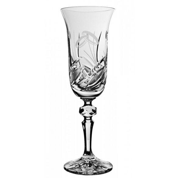 Viola * Ólomkristály Pezsgős pohár esküvőre 150 ml (LGyű11920)