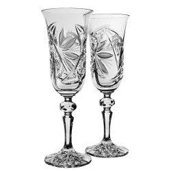 Liliom * Kristály Pezsgős kristály készlet esküvőre (2 db) (LGyű17698)