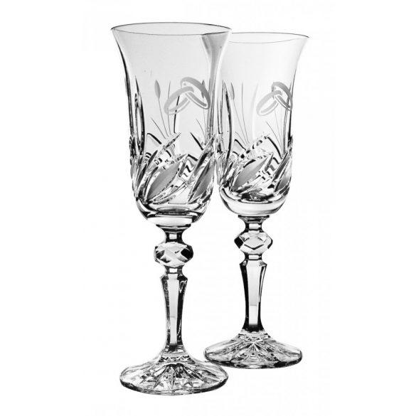 Viola * Kristály Pezsgős kristály készlet esküvőre (2 db) (LGyű17998)